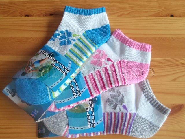 Kotníkové sportovní ponožky poloplyš(pruh)
