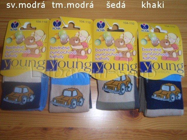 Bavlněné punčocháče Novia-velikost 104-110(vzor auto)