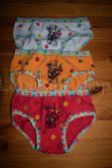 Dívčí kalhotky EMY(vzor medvídek-úzký lem)-3 barvy