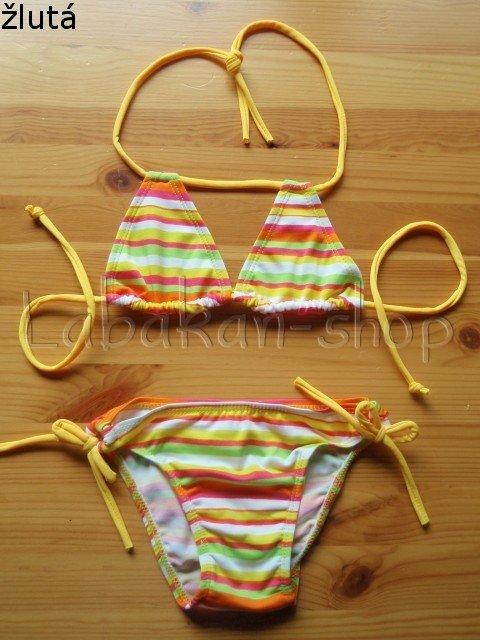Dvoudílné pruhované dívčí plavky NOVIA-3 barvy  4d0928adea
